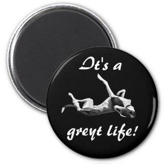 Greyt life greyhound magnet black background