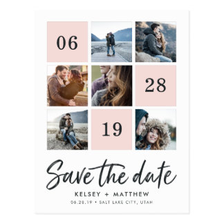 Grid Collage | Photo Save the Date Postcard