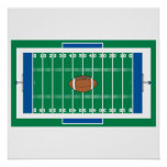 grid iron football field graphic print