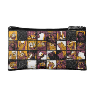 Grid of Cats Small Cosmetic  Bag Cosmetic Bags