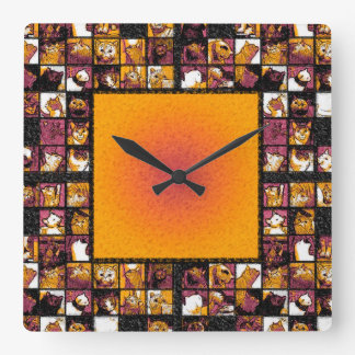 Grid of Cats Square Wall Clock