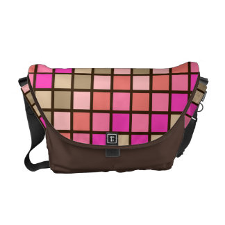Grid Rock Pink Green and Brown Messenger Bag