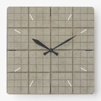 GRID TILES | industrial decor Square Wall Clock