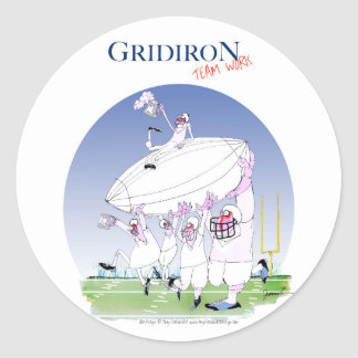 Gridiron teamwork, tony fernandes round sticker