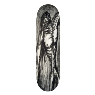 Grief and Agony charcoal drawing grunge emo goth Custom Skate Board