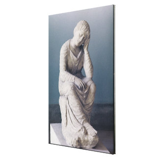Grieving maiden, Attic, Greece, c.330 BC (stone) Canvas Print