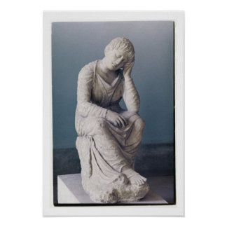 Grieving maiden, Attic, Greece, c.330 BC (stone) Poster