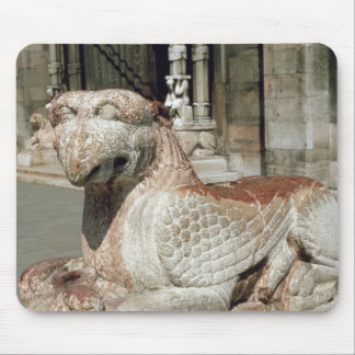 Griffin lying on a plinth, mid 13th century mouse mat
