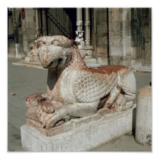 Griffin lying on a plinth, mid 13th century poster