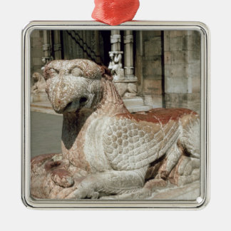 Griffin lying on a plinth, mid 13th century Silver-Colored square decoration