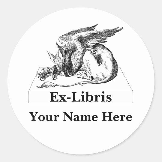 Griffin On book Ex-Libris Classic Round Sticker
