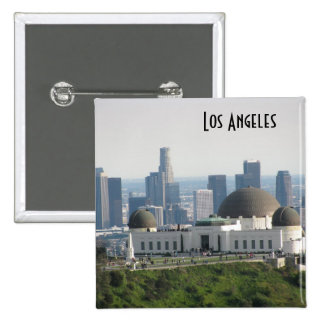 Griffith Observatory and Downtown Los Angeles 15 Cm Square Badge