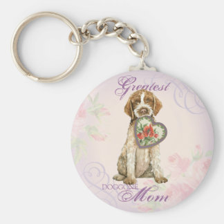 Griffon Heart Mom Basic Round Button Key Ring