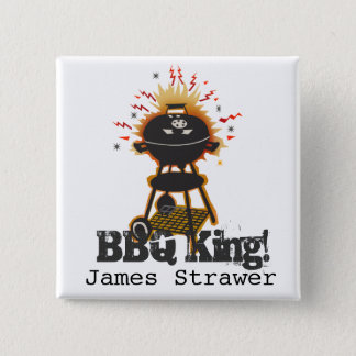 Grill Cooking Grilling Name BBQ King 15 Cm Square Badge