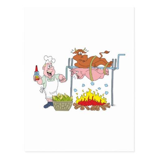 Grill crickets barbecue BBQ Postcard