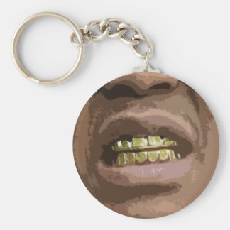 Grill Face #2-- T-Shirt Basic Round Button Key Ring