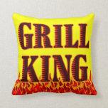 Grill King Red Flames BBQ Art Pillow Pillow
