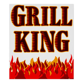 Grill King Red Flames BBQ Saying Print