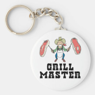 Grill Master Cowboy Basic Round Button Key Ring