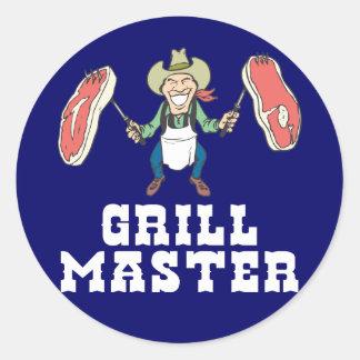 Grill Master Cowboy Round Sticker