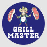 Grill Master Cowboy Round Stickers