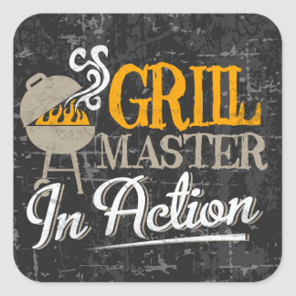 Grill Master In Action Square Sticker