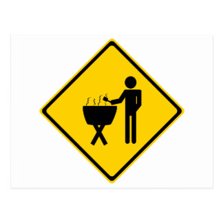 Grill Master Road Sign Postcard