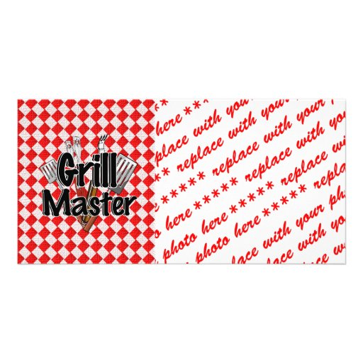 Grill Master with BBQ Tools & Picnic Table Customized Photo Card