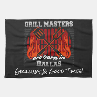 Grill Masters Are Born In Dallas Texas Any Slogan Tea Towel