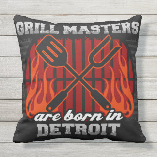 Grill Masters Are Born In Detroit Cushion