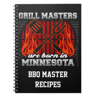 Grill Masters Are Born In Minnesota Personalized Spiral Notebook