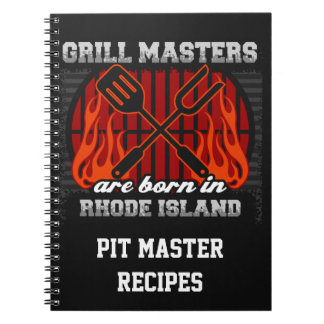 Grill Masters Are Born In Rhode Island Personalize Spiral Notebook