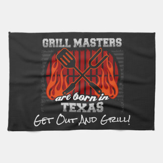 Grill Masters Are Born In Texas Add A Slogan Tea Towel