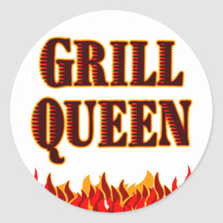 Grill Queen Funny BBQ Saying Round Sticker