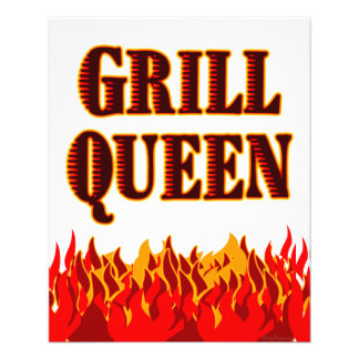Grill Queen Red Flames Custom Flyer Template