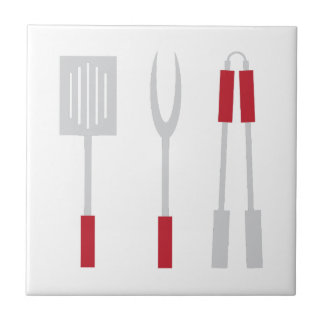 Grill Utensils Small Square Tile