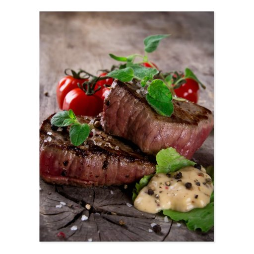 Grilled bbq steaks with fresh herbs and tomatoes post cards