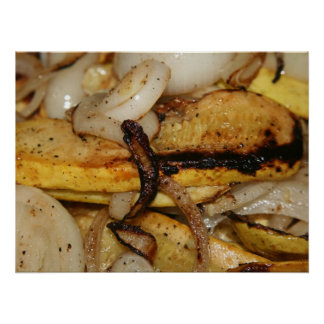 Grilled onion slices and yellow squash pieces print