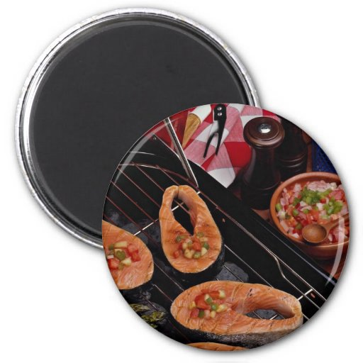 Grilled salmon steaks refrigerator magnet