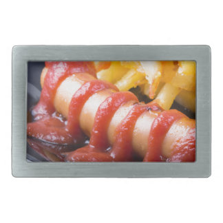 Grilled sausages and fried potato rectangular belt buckle