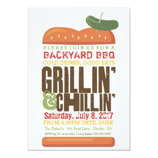 Grillin Chillin BBQ Invitation, Burger Barbecue Card