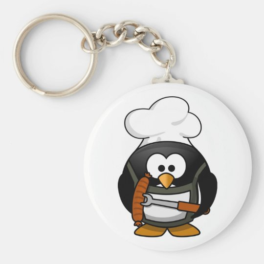Grilling Penguin Keychain