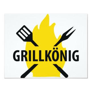 Grillkönig mit Flammen icon 11 Cm X 14 Cm Invitation Card