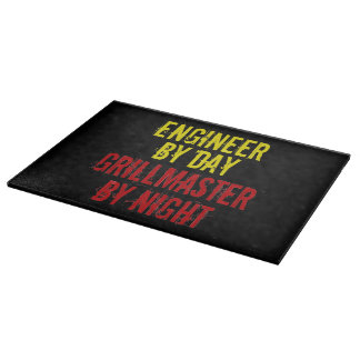 Grillmaster Engineer with Red and Yellow Cutting Board