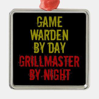 Grillmaster Game Warden Silver-Colored Square Decoration