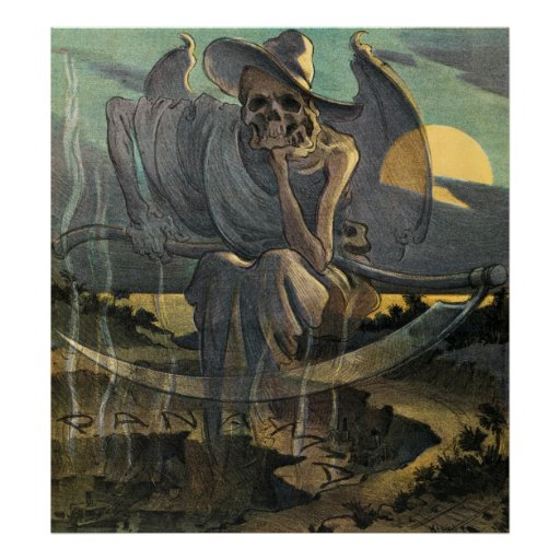 Grim Reaper Awaits with Scythe Print