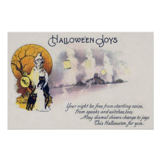 Grim Reaper Black Cat Lantern Full Moon Poster