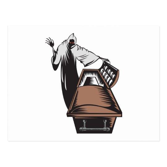 Grim Reaper Death Coffin Retro Postcard