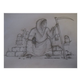 Grim Reaper Death Pencil Drawing Poster