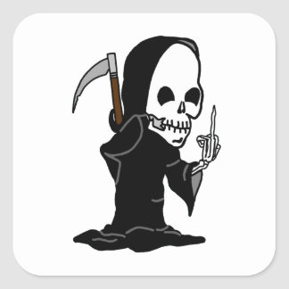 Grim Reaper giving the Finger Square Stickers